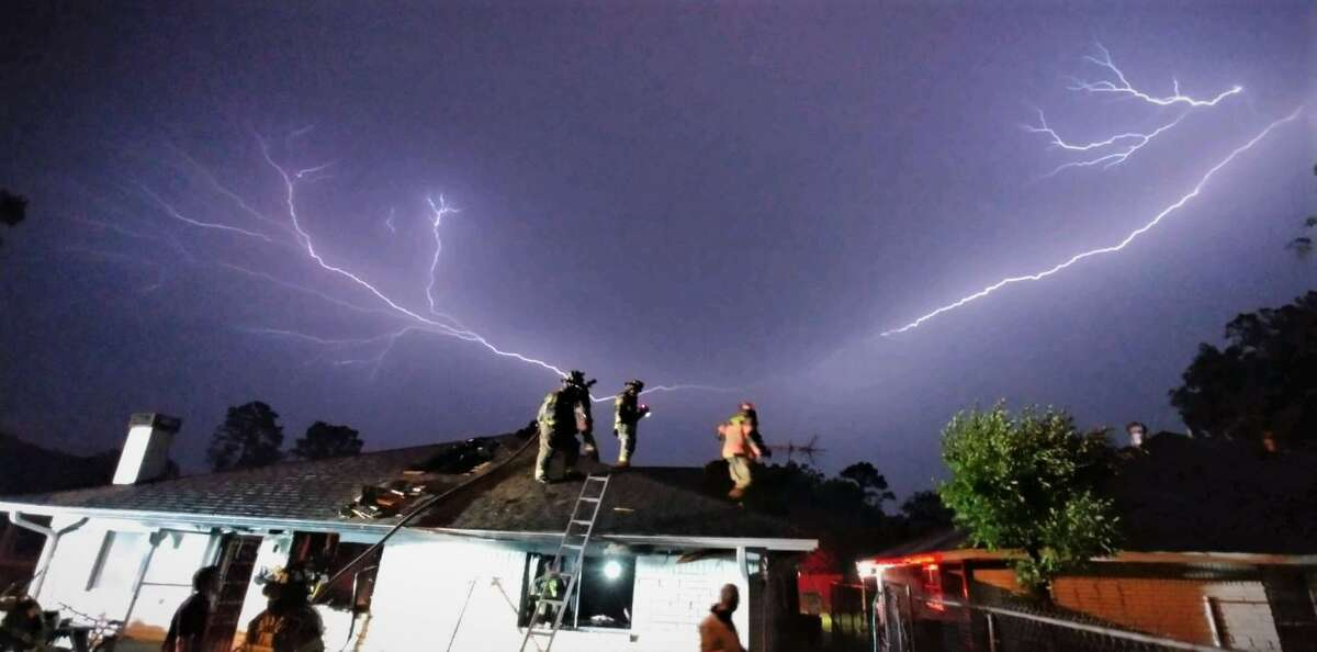 """""""HFD responding to a house fire earlier on Rebel Road,"""" tweeted the Houston Fire Department."""