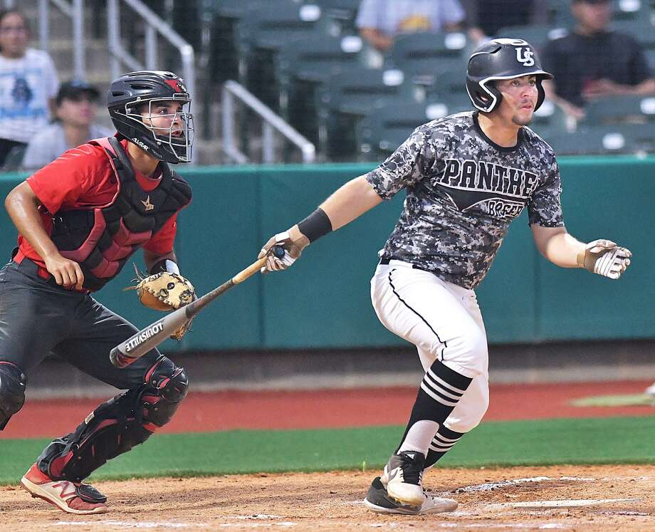 Erik Ruiz had one of seven hits Thursday as the Panthers built a 3-2 lead over Harlingen at Uni-Trade Stadium before play was suspended in the top of the fourth inning. Photo: Cuate Santos /Laredo Morning Times / Laredo Morning Times
