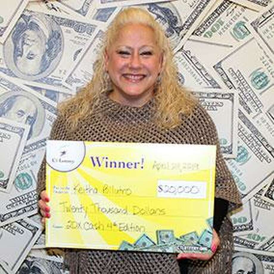 "Keitha Pollutro of Harwinton won $20,000 in April after buying a winning 20X Cash at the Daily Mart in Harwinton. ""I'll pay some bills, but I really want to help my son with college. I also want to give some money to my ex-mother-in-law. Since my mother died, she's always been like a mother to me, so I'd like to help her, too,"" she told CT Lottery officials. Photo: CT Lottery Photo"