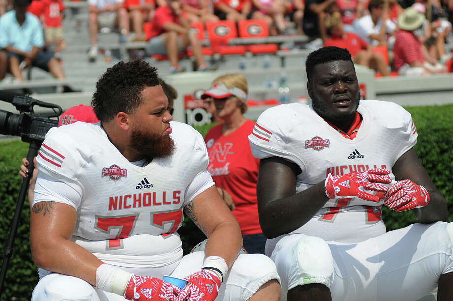 PHOTOS: Players from Houston high schools and Texas college drafted in 2019  September 10, 2016: Stars of the Netflix show Last Chance U Marcel Andry (77) Nicholls State Colonels defensive linemen and Ronald Ollie (72) Nicholls State Colonels defensive linemen during the game between the Nicholls State Colonels and the Georgia Bulldogs. The Georgia Bulldogs (26) defeated the Nicholls State Colonels (24) at Sanford Stadium in Athens, Ga. (Photo by Jeffrey Vest/Icon Sportswire via Getty Images) >>>A look at players who were taken in the 2019 NFL Draft that went to Houston high schools or Texas colleges ...  Photo: Icon Sportswire/Icon Sportswire Via Getty Images / ©Icon Sportswire (A Division of XML Team Solutions) All Rights Reserved