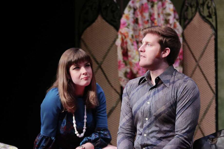 "Blake Weir as Greg and Lindsay Ehrhardt as Ginny in ""Relatively Speaking,"" currently playing at Main Street Theater Photo: Main Street Theater / Copyright Forest Photography, 2019."