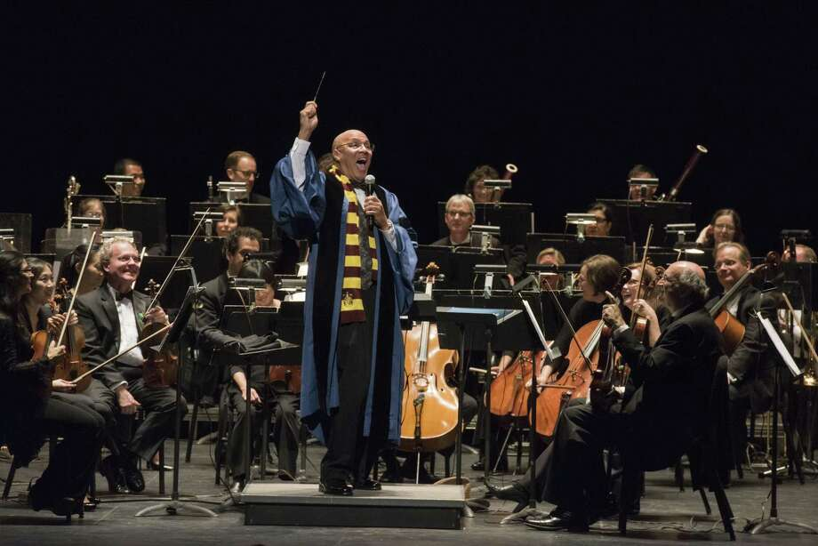 """Chelsea Tipton leads a 2016 movie-music pops concert in """"Harry Potter"""" garb. Photo: NHSO / Contributed Photo"""