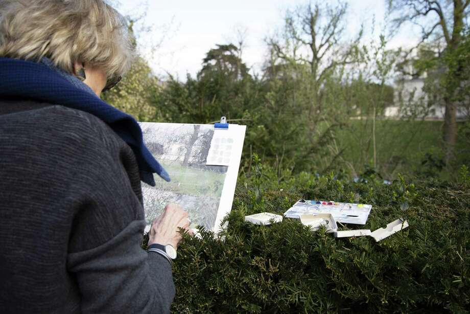 Eileen Hogan sketching at Chiswick. Photo: Yale Center For British Art / Contributed Photo