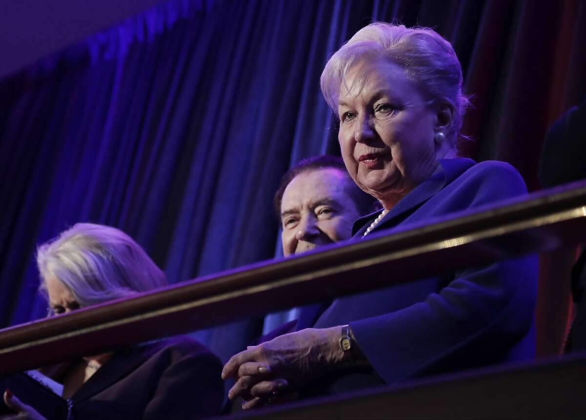 FILE - In this Nov. 9, 2016 file photo, federal judge Maryanne Trump Barry, older sister of Donald Trump, sits in the balcony during Trump's election night rally in New York. The fastest way for federal judges facing investigation by their peers to make the inquiry go away is to utter two words,