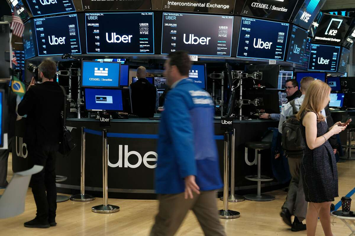 NEW YORK, NEW YORK - MAY 10: Traders work on the floor of the New York Stock Exchange (NYSE) before the Opening Bell at the NYSE as the ride-hailing company Uber makes its highly anticipated initial public offering (IPO) on May 10, 2019 in New York City. Uber will start trading on the New York Stock Exchange after raising $8.1 billion in the biggest U.S. IPO in five years.Thousands of Uber and other app based drivers protested around the country on Wednesday to demand better pay and working conditions including sick leave, overtime and a minimum wage. (Photo by Spencer Platt/Getty Images)