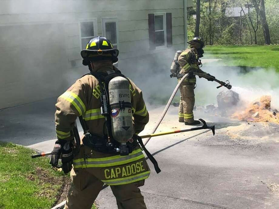 Brookfield firefighters have responded to several recent incidents of improperly discarded floor refinishing materials spontaneously combusting in town — and they are now asking residents to exercise caution. Photo: Brookfield Volunteer Fire Company / Facebook