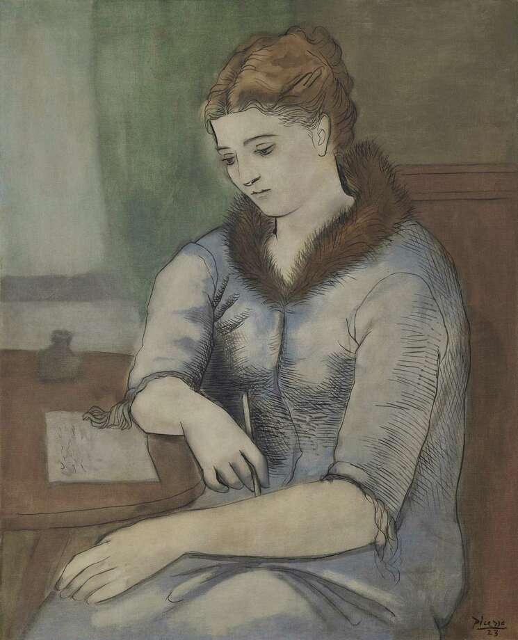 """Pablo Picasso's """"La Lettre (La Reponse),"""" a 1923 portrait of his then-wife Olga, sold for $22 million (realizing more than $25 million, with commissions) during Christie's Impressionist and Modern Art Evening Monday. The painting was among several masterpieces from the estate of H.S.H. Princess """"Titi"""" von Furstenburg, an heiress of Houston's Blaffer family. Photo: Courtesy Of Christie's / © 2019 Estate Of Pablo Picasso / Artists Rights Society (ARS), New York"""