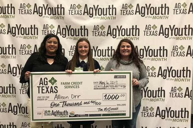 Allison Orr (Center) with her FFA instructor, Alejandra Ramirez and Student teacher Claire Price from Floydada FFA. Orr was one of several AgYouth to receive a $1,000 scholarship on Monday.
