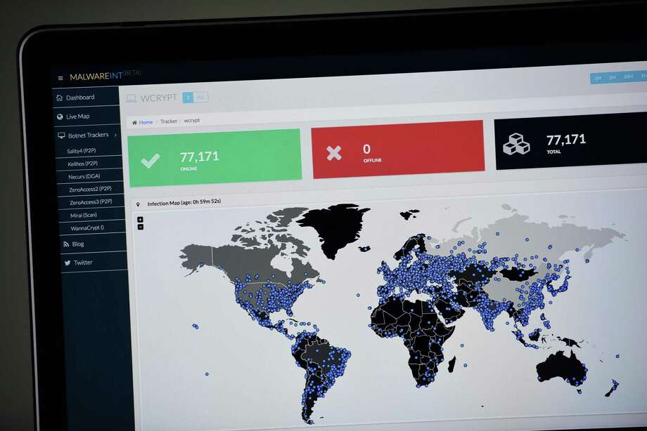 A map compiled by British company Malware Tech displays the geographical distribution of the WannaCry ransomware cyber-attack May 12, 2017, as seen on a computer screen in Portland, Ore. Photo: Alex Milan Tracy / TNS / Internal