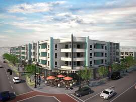 A rendering of the proposed Village Green housing project in San Lorenzo, California. It is on a main artery, Hesperian Blvd., and on the former site of a Mervyn's department store.