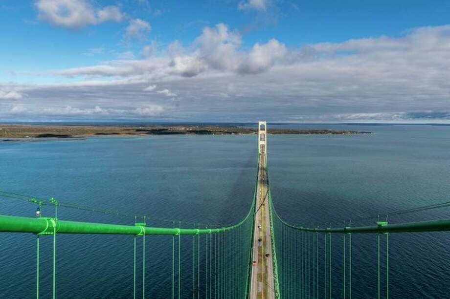 View from the top of the south tower of the Mackinac Bridge looking toward Michigan's Upper Peninsula. (Michigan Department of Transportation) / © State of Michigan - Michigan Department of Transportation - Office of Communications