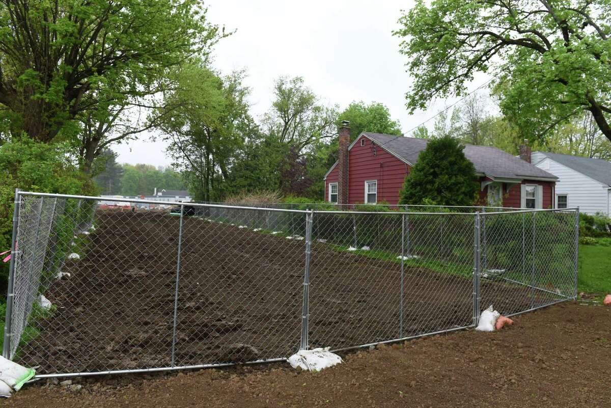 A Wood Terrace access road to the construction project at the New York State Correctional Services Training Academy is protected by a chainlink fence on Friday, May 10, 2019, in Albany, N.Y. The facility is undergoing a $39.4 million expansion project. (Will Waldron/Times Union)