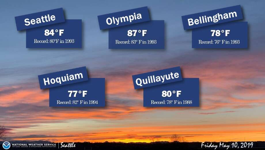 Friday's temperatures were expected to break records for May 10 in several Washington cities. Photo: Courtesy NWS