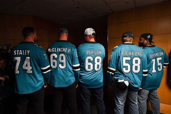 best service f7127 e11c9 49ers linemen at Sharks' game: a celebration for the ages ...