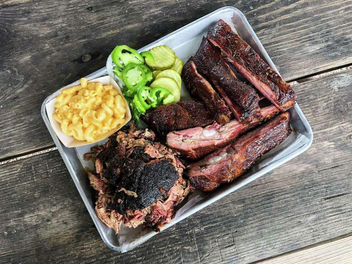 Pulled pork and pork rib tray at CorkScrew BBQ