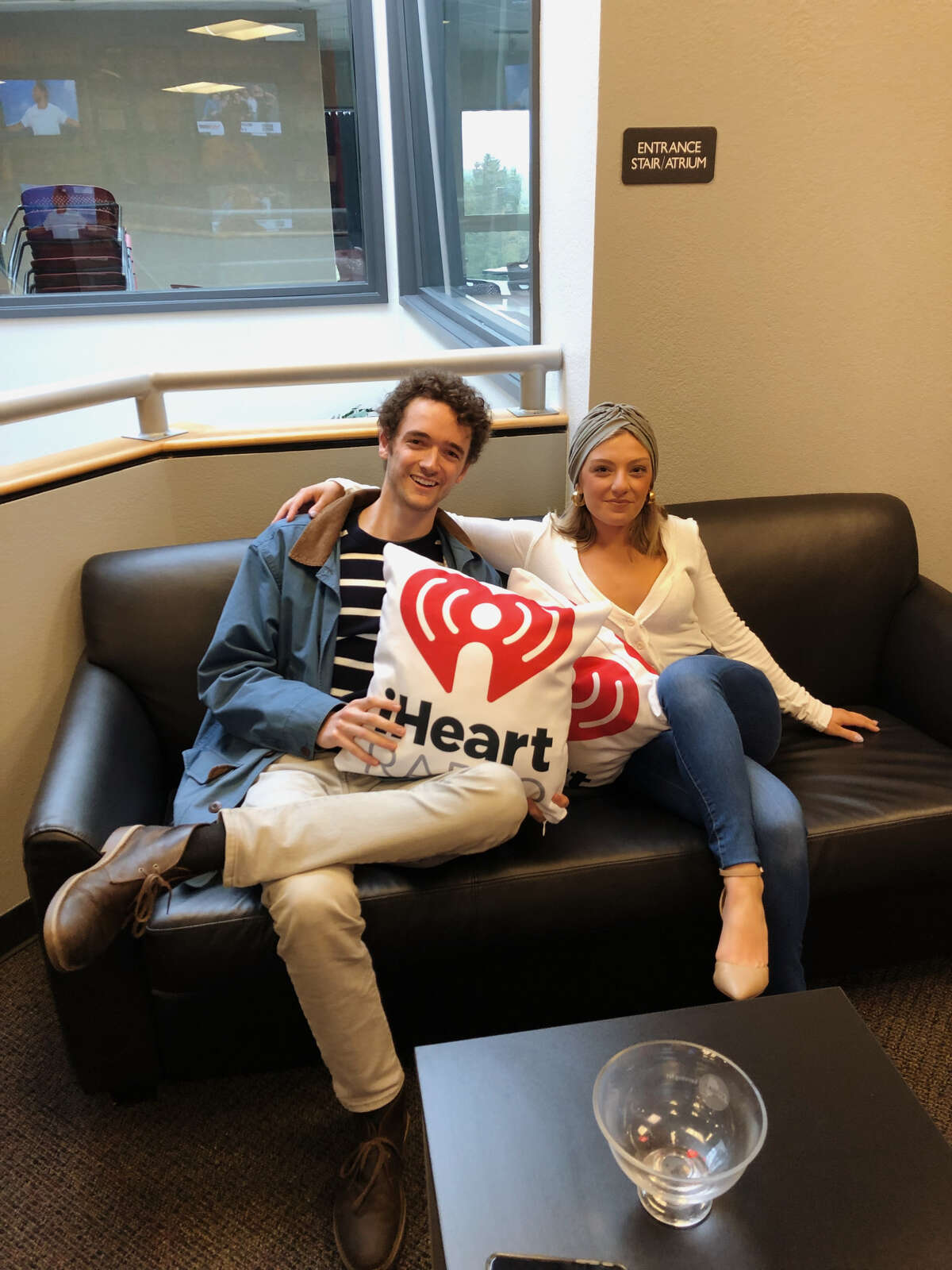 Taylor Rao and Jack Carpenter of Two Buttons Deep inside the iHeartMedia building in Latham. They will be on the KISS 102-3 Low Budget Night Show with D Scott from 6 to 8 p.m. each Friday.