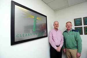 James Andersen, right, and Cal Neider are founders and managing partners of private equity firm Clearview Capital, which is based at 1010 Washington Blvd., in downtown Stamford, Conn.