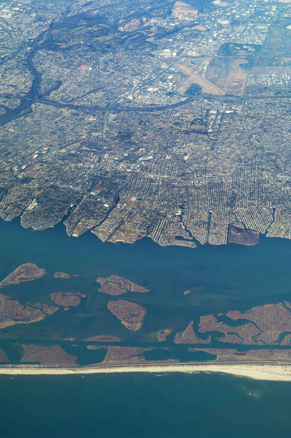 An aerial view of Republic Airport in the distance taken from the south coast of Long Island. (stockcam/Getty Images/iStockphoto)