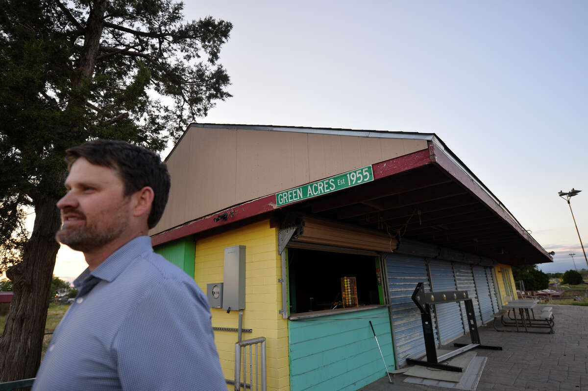 Jeff Beard stands near the entrance of the historic and dilapidated Green Acres miniature golf course, May 9, 2019. The course, located near Highway 80 east of downtown, is remembered by many Midlanders but has fallen into disrepair in recent years. Developers, including Beard, have submitted their plans to the city.