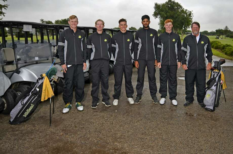 Midland College golfers are headed to the NJCAA National Tournament. Shown from left, Callum Bruce, George Saunders, Max Charles, Aadam Syed, Joey Kirk, and coach Walk Williams, photographed May 10, 2019 at Ranchland Hills Golf Club, James Durbin/Reporter-Telegram Photo: James Durbin / Midland Reporter-Telegram