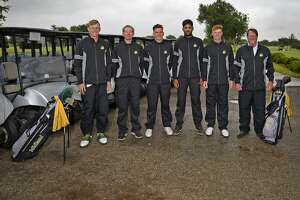 Midland College golfers are headed to the NJCAA National Tournament. Shown from left, Callum Bruce, George Saunders, Max Charles, Aadam Syed, Joey Kirk, and coach Walk Williams, photographed May 10, 2019 at Ranchland Hills Golf Club, James Durbin/Reporter-Telegram