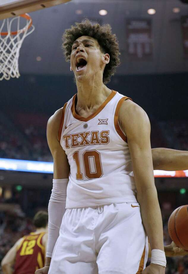 AUSTIN, TEXAS - MARCH 02: Jaxson Hayes #10 of the Texas Longhorns reacts after his slam dunk shot against the Iowa State Cyclones at The Frank Erwin Center on March 02, 2019 in Austin, Texas. (Photo by Chris Covatta/Getty Images) Photo: Chris Covatta, Stringer / Getty Images / 2019 Getty Images