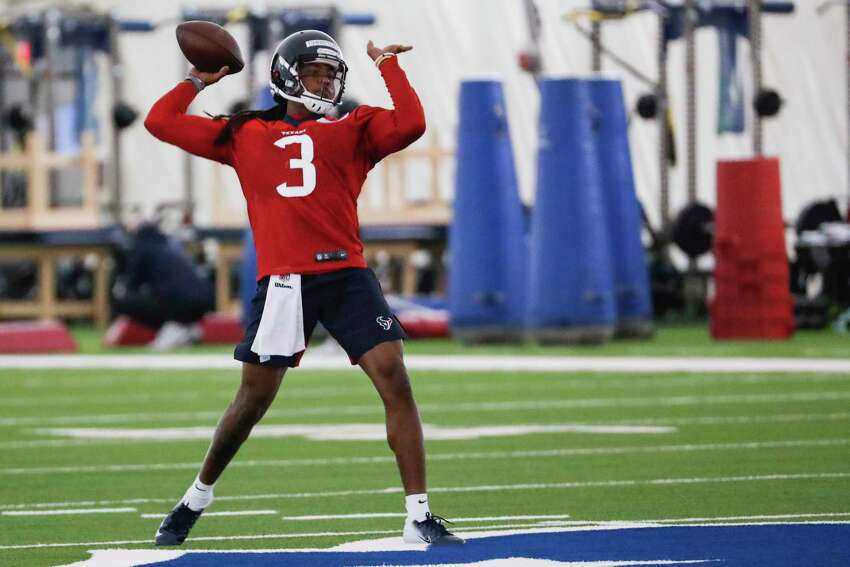 Houston Texans quarterback Jay Christophe, of Texas Southern, throws a pass during rookie mini camp at The Methodist Training Center on Friday, May 10, 2019, in Houston.