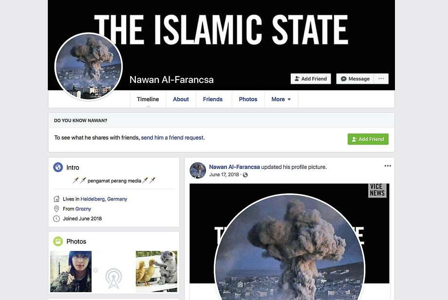"A banner reading ""The Islamic State"" is displayed on the Facebook page of a user identifying himself as Nawan Al-Farancsa. The page was still live Tuesday, May 7, 2019, when the screen grab was made. Facebook says it has robust systems in place to remove content from extremist groups, but a sealed whistleblower's complaint reviewed by the AP says banned content remains on the web and is easy to find. (Facebook via AP) Photo: Associated Press"