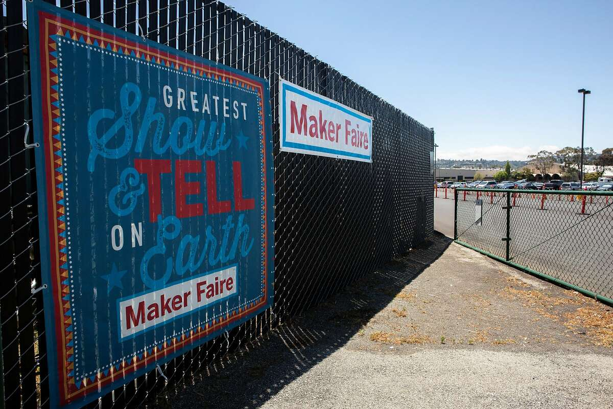 Construction continues for the Maker Faire at the San Mateo County Event Center on Friday, May 10, 2019, in San Mateo, Calif.