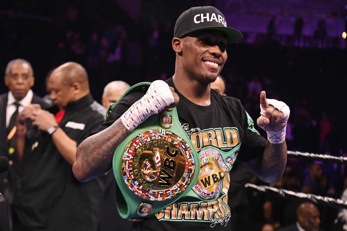 NEW YORK, NEW YORK - DECEMBER 22: Jermall Charlo poses with the championship belt after defeating Matt Korobov in their WBC Interim MIddlweight Championship bout at Barclays Center on December 22, 2018 in the Brooklyn borough of New York City. (Photo by Sarah Stier/Getty Images)