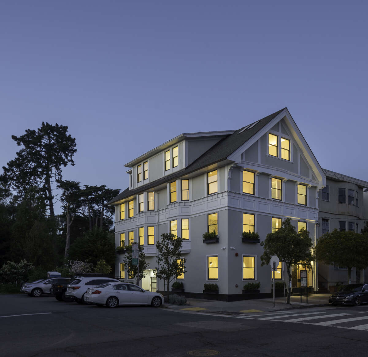 The historic structure, reimagined and now known as Presidio 9, features a four-car parking garage and commercial elevator.