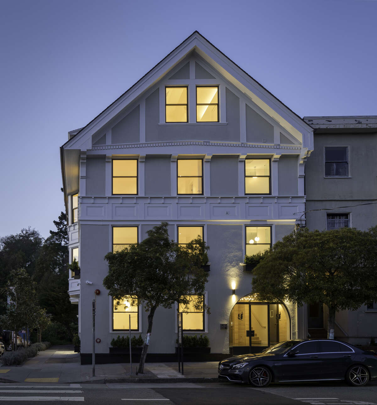 Though the interior abounds with contemporary finishes and comforts, the exterior retains its classical facade.