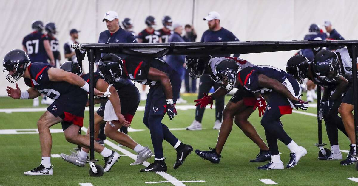 Houston Texans rookies run a drill during rookie mini camp at The Methodist Training Center on Friday, May 10, 2019, in Houston.