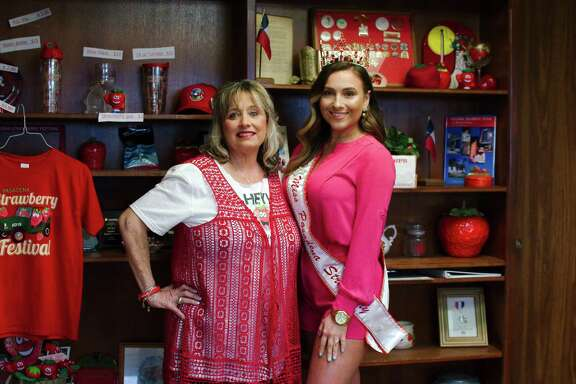 Incoming Pasadena Strawberry Festival executive director and former pageant contestant Murline Staley, left, and 2018 Miss Pasadena Strawberry Alexandria Hale say they are pleased that the pageant is occuring on the festival grounds this year.
