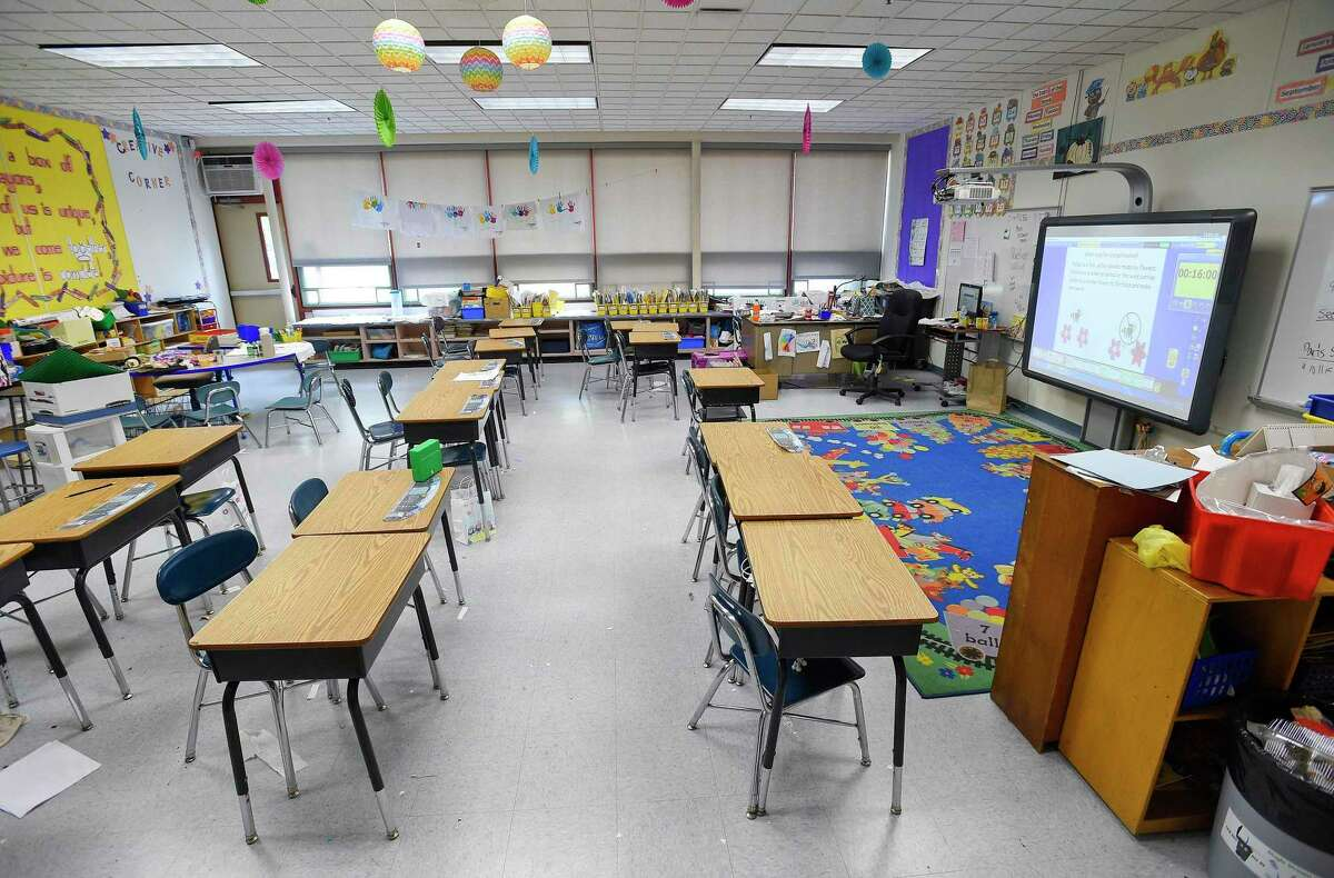 A photograph taken on May 10, 2019 shows a classroom at Newfield Elementary School.