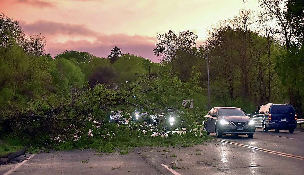 Trees and power lines knocked down by the storm block roads in Hamden May 15, 2018.