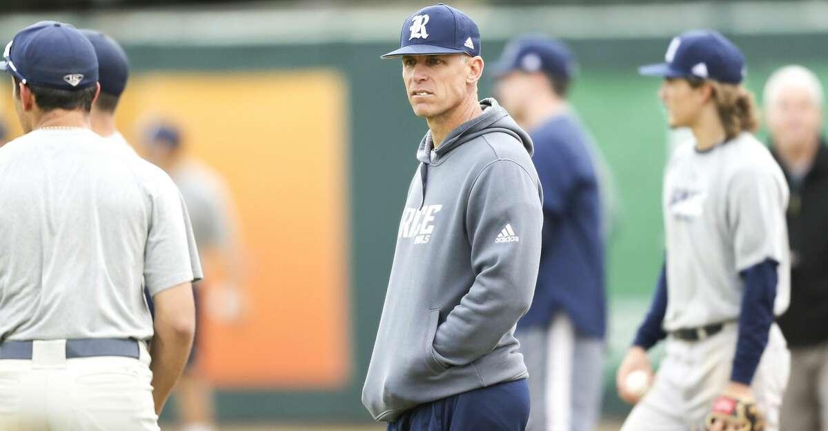 Rice University's new head baseball coach, Matt Bragga, during practice at the school on Tuesday, Feb. 13, 2018 in Houston.
