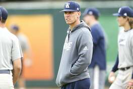 Rice University's new head baseball coach, Matt Bragga, during practice at the school on Tuesday, Feb. 13, 2018 in Houston.