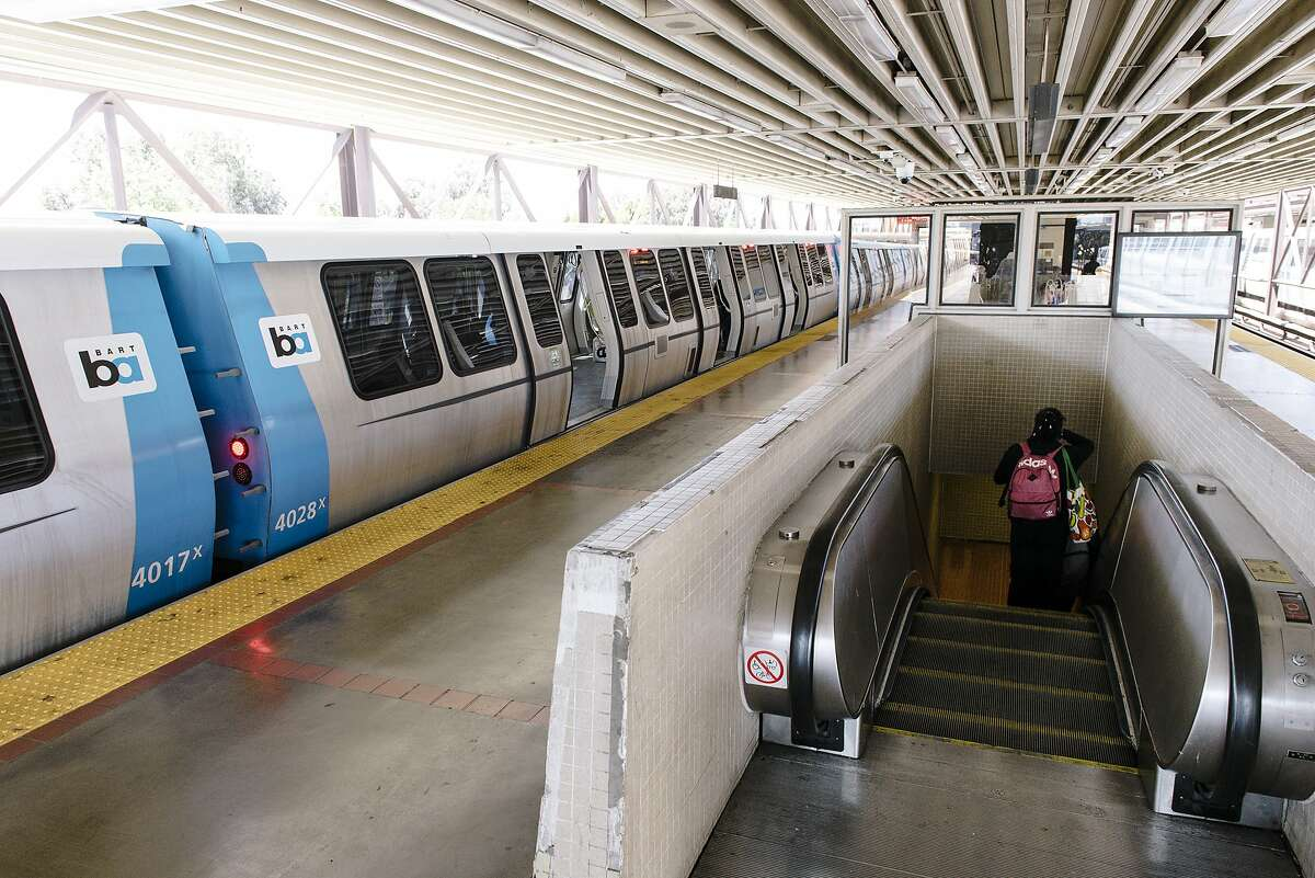 A new BART train sits on the platform at MacArthur Station in Oakland, Calif, on Friday, May 10, 2019.
