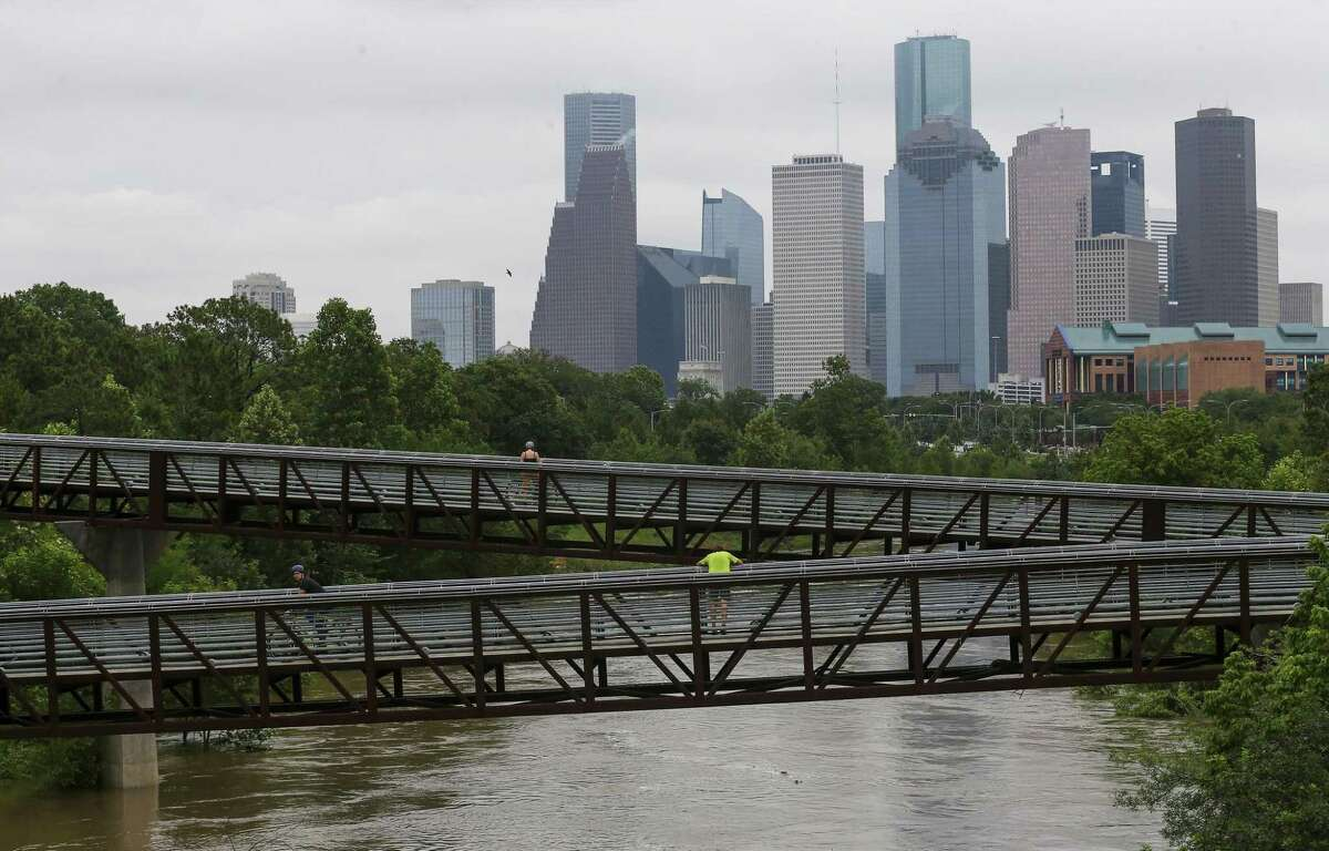Water levels at the Buffalo Bayou in Houston are high Friday, May 10, 2019, following the heavy rainfall overnight. (Godofredo A Vásquez/Houston Chronicle via AP)