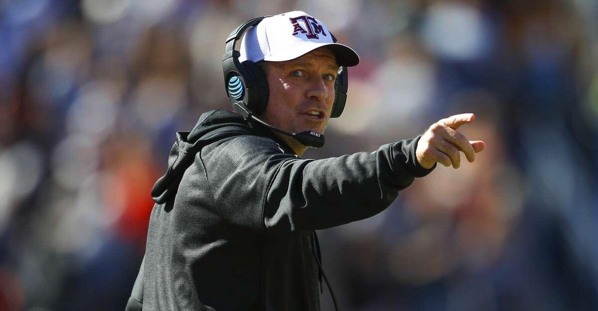 Texas A&M head coach Jimbo Fisher reacts against Auburn during the first half of an NCAA college football game, Saturday, Nov. 3, 2018, in Auburn, Ala. (AP Photo/Todd Kirkland)