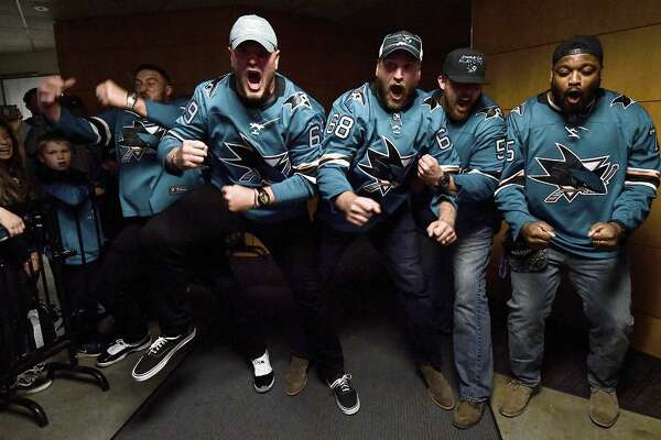 49ers' linemen at Sharks' game: a celebration for the ages