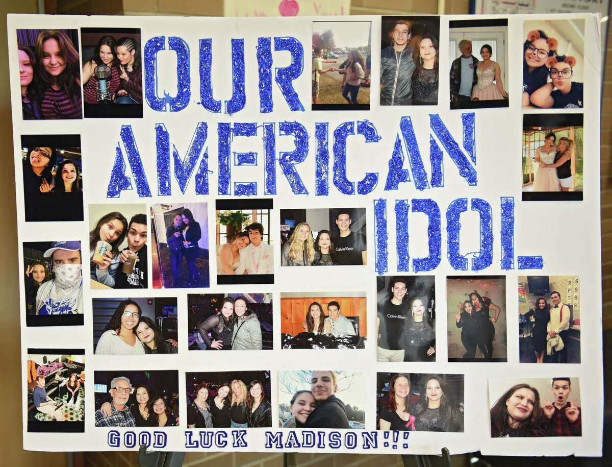 A picture board is seen as Colonie Town Supervisor Paula Mahan and Colonie School Superintendent D. Joseph Corr announced an American Idol viewing party for Madison Vandenburg at Shaker High School on Sunday night during a press conference at Shaker on Friday, May 10, 2019 in Latham, N.Y. If Madison is voted in as one of the final three contestants, there will be other events planned in the community. Friends and teachers stand at right. If (Lori Van Buren/Times Union)