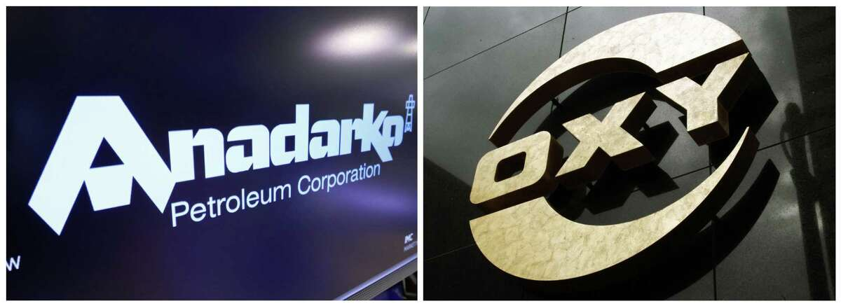 This combo of file photos shows the logo for Anadarko Petroleum Corp. on the floor of the New York Stock Exchange and a logo on the Occidental Petroleum/ Occidental will acquire Anadarko with an offer worth $76 per share.