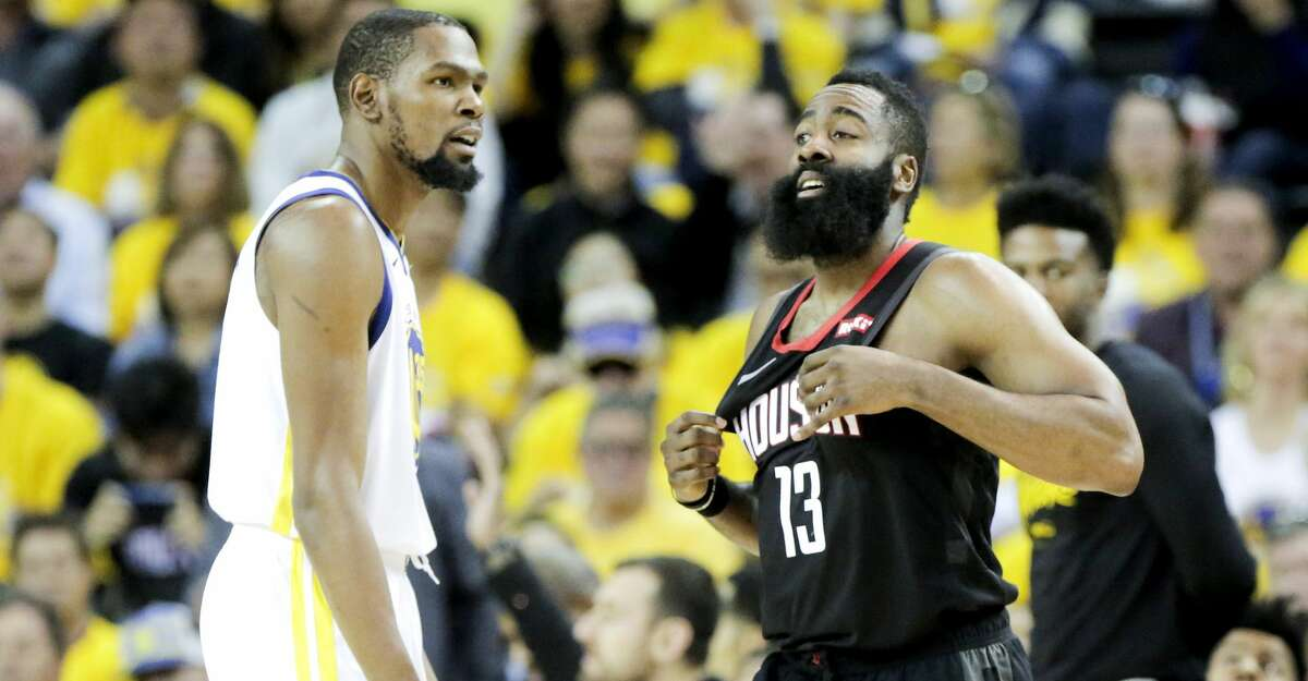 PHOTOS: Rockets game-by-game Houston Rockets guard James Harden (13) reacts to getting fouled on a three-point shot by Golden State Warriors forward Kevin Durant (35) during Game 5 of the NBA Western Conference semifinals at Oracle Arena on Wednesday, May 8, 2019, in Oakland. Browse through the photos to see how the Rockets fared in each game this season.