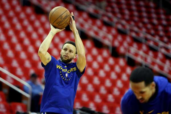 89626e889 1of6Steph Curry of the Golden State Warriors takes shots before Game 6 of  the Western Conference Semifinals at Toyota Center in Houston