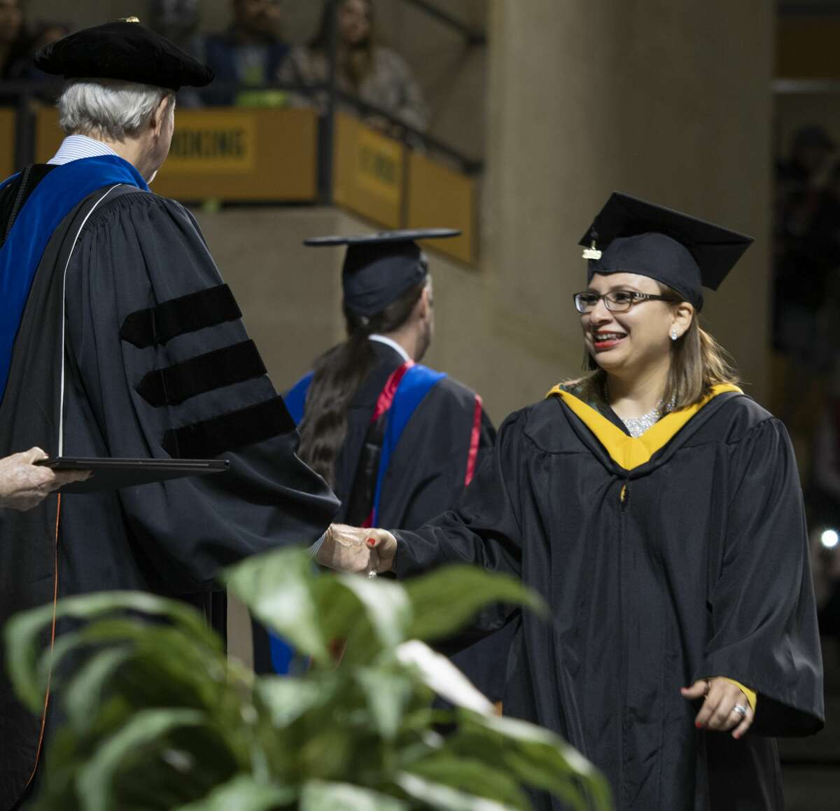Midland College graduates make their way across the stage 05/10/19 evening to receive their diploma during the 46th commencement ceremony. Tim Fischer/Reporter-Telegram