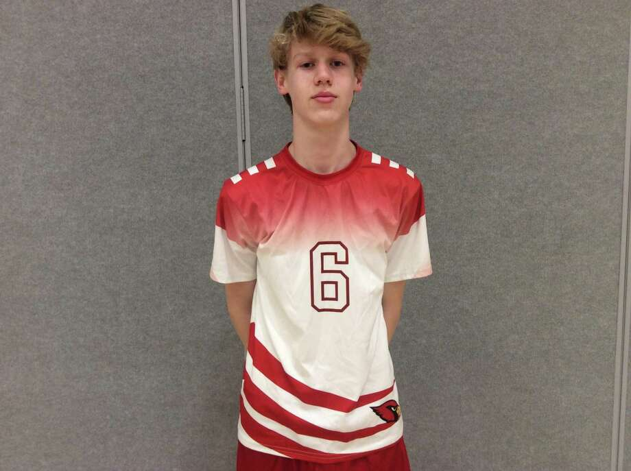 Greenwich sophomore Whit Courage helped the Greenwich High boys volleyball team sweep Stamford on Friday. Photo: David Fierro / Hearst Connecticut Media / Connecticut Post