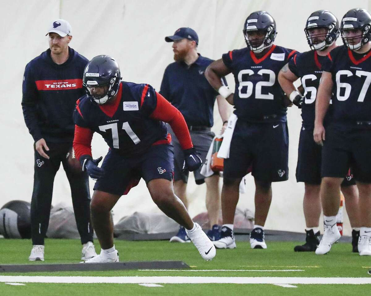 First-round draft pick Tytus Howard (71) figures to garner plenty of attention during Texans training camp when practices begin Thursday.