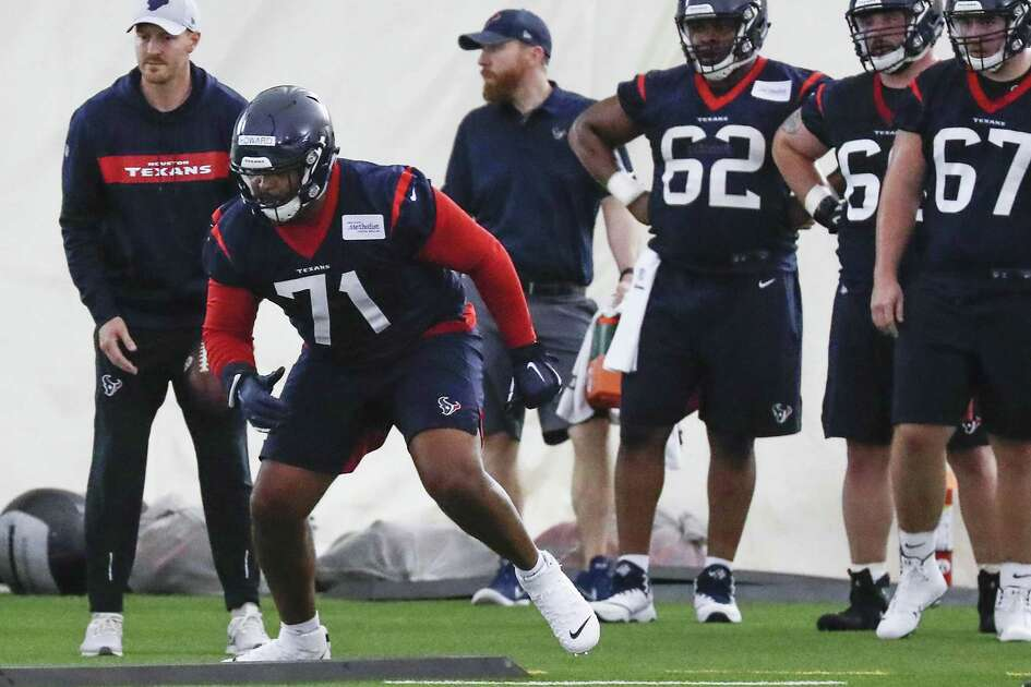 Houston Texans tackle Tytus Howard (71) runs a drill during rookie mini camp at The Methodist Training Center on Friday, May 10, 2019, in Houston.
